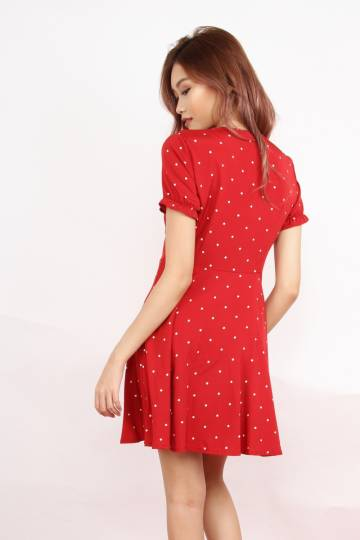 Rebel Look Good Button Down Dress (Polkadot In Red)