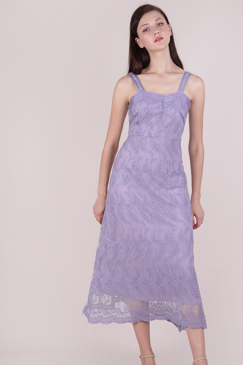 Isabel Mesh Embroidery Dress (Lilac)