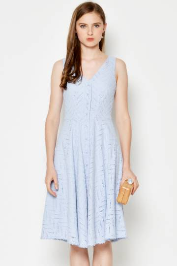 BIANNA MIDI EYELET DRESS LIGHT BLUE