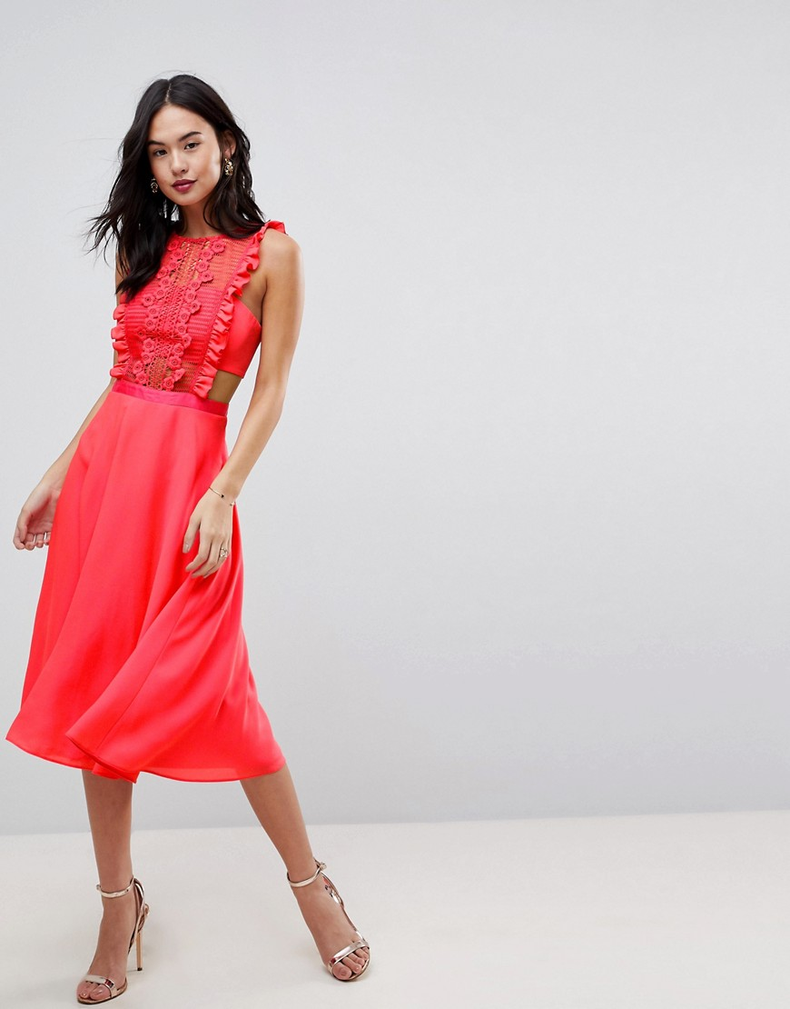 Image result for ASOS Lace Pinafore Pleated Midi Dress