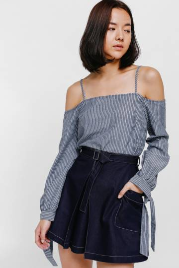 Sharelle Belted Contrast Stitch Denim Skirt