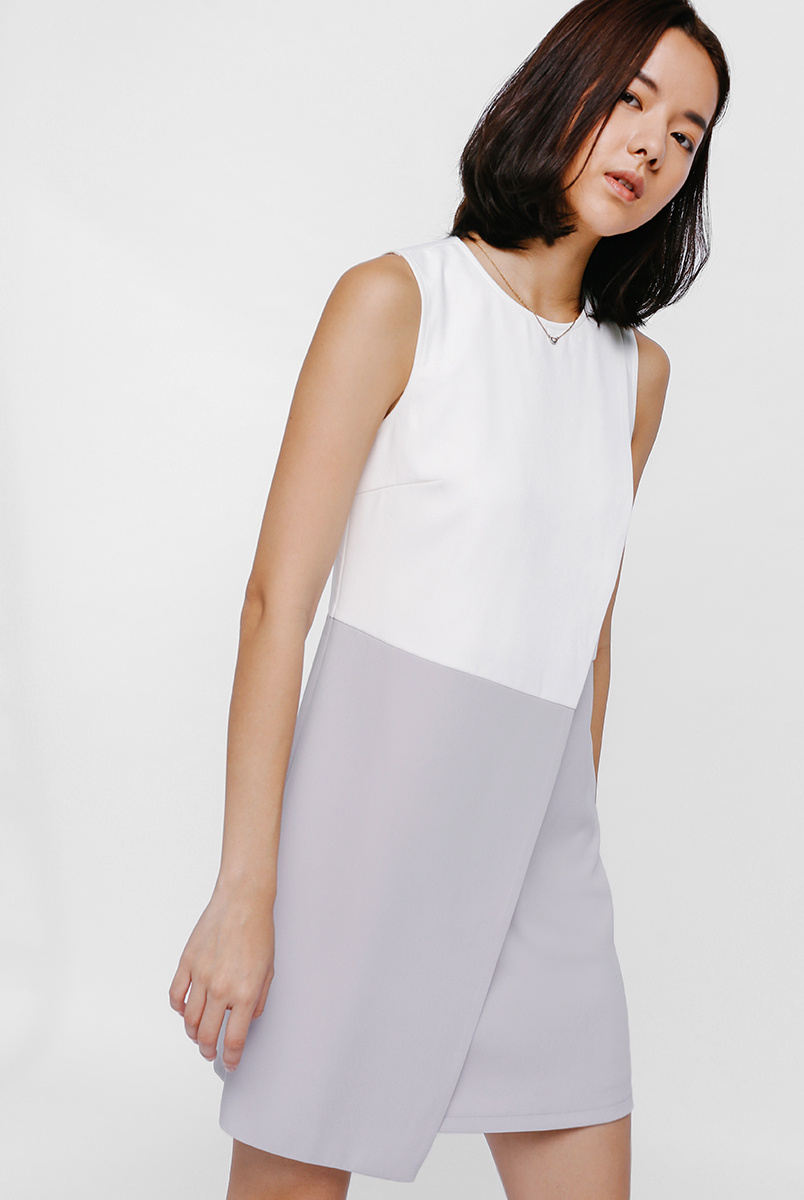 Feanges Colour Block Foldover Dress