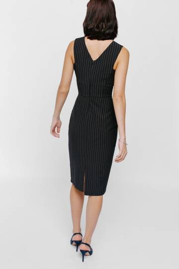 Mymana Pinstriped Back Zip Midi Dress