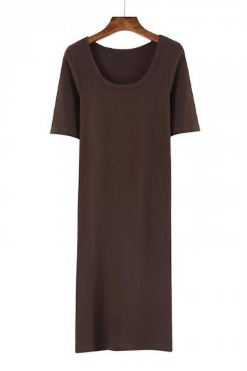 (Pre-Order) Quarter Sleeve Round Neck Midi Dress in Brown