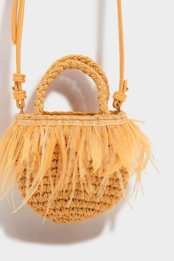 Kids Feathered Woven Bag
