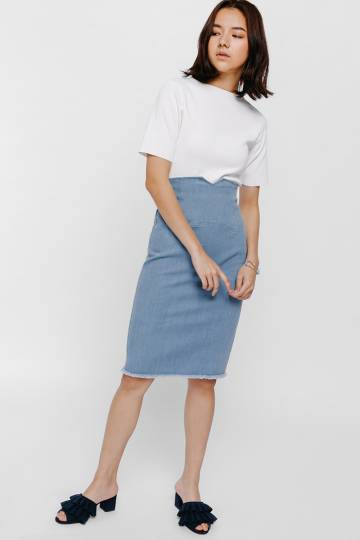 Xegja High Waist Denim Raw Hem Skirt