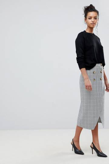 ASOS DESIGN double breasted pencil skirt in check