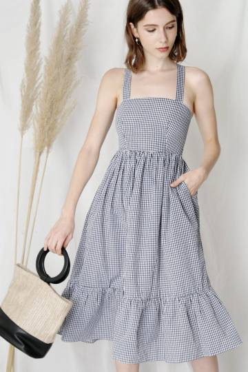 Fable Cross Back Midi Dress (Gingham)