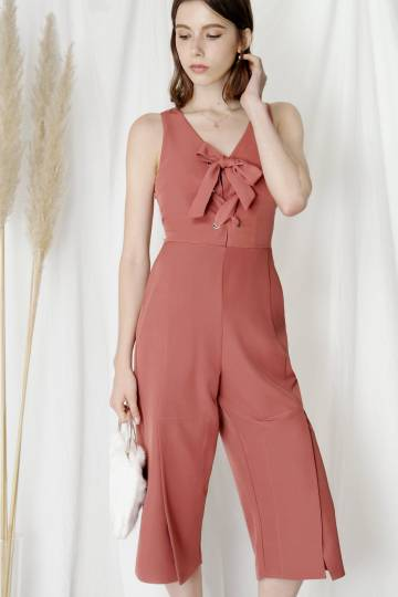 Skylight Lace Up Front Jumpsuit (Terracotta)
