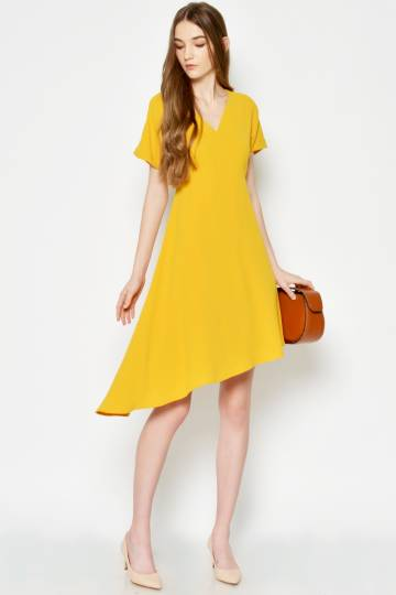 RELYSA ASYMMETRICAL DRESS MUSTARD