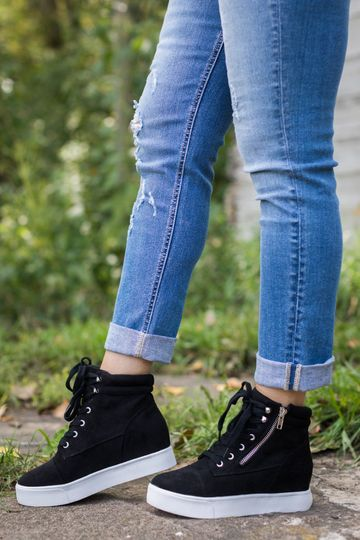 Let's Go For A Stroll Lace Up Wedges in Black