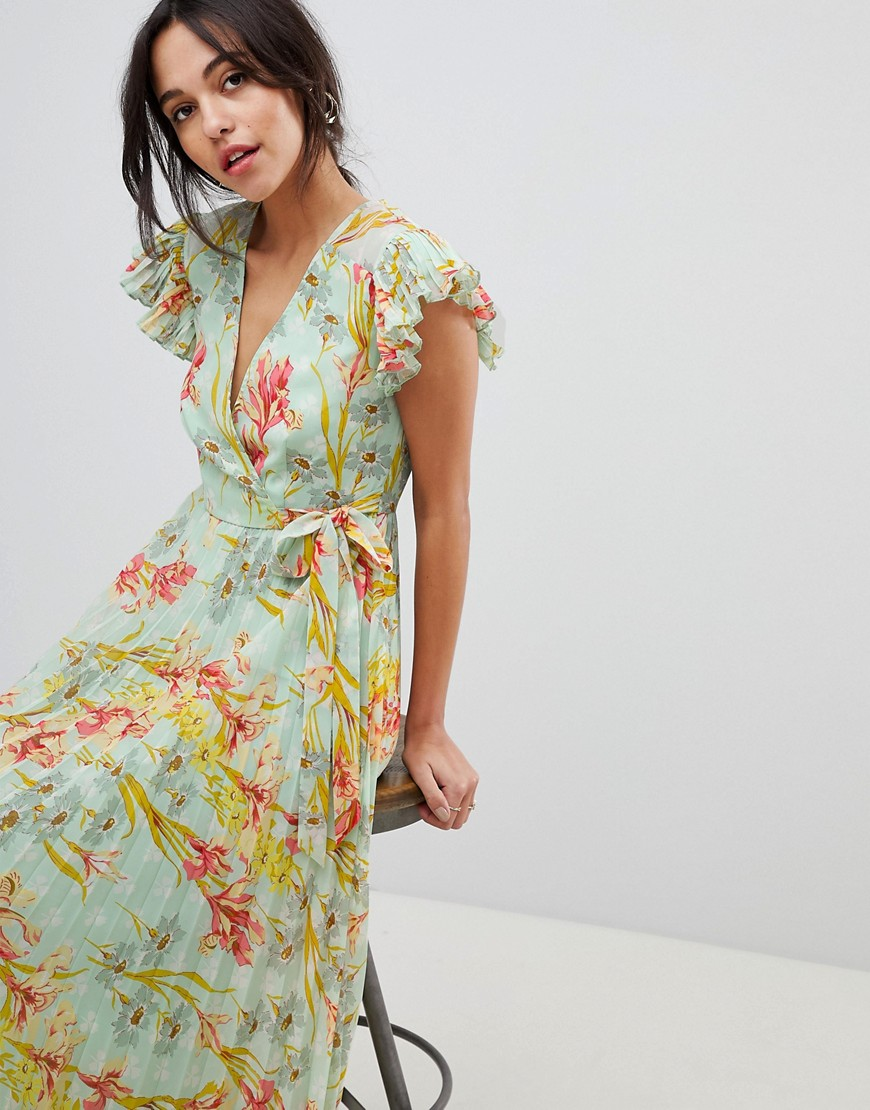 933d5f6ebe Floral Pleated Flutter Sleeve Maxi Dress - Gomes Weine AG