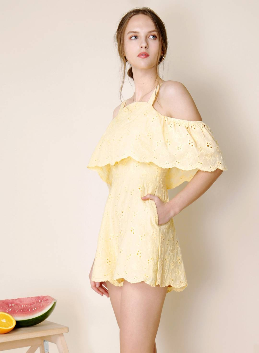 Imagine Cold Shoulder Eyelet Romper (Lemon)