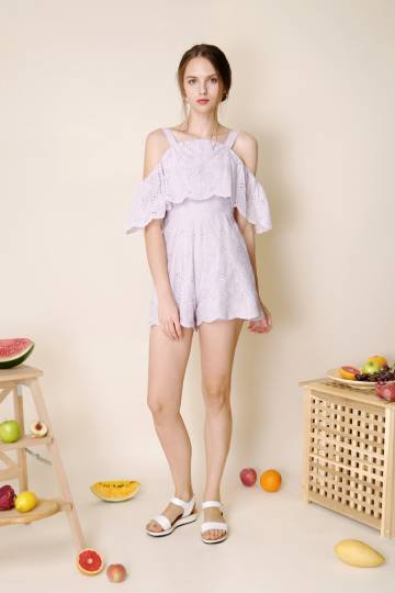Imagine Cold Shoulder Eyelet Romper (Lilac)