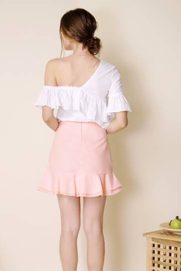 Sunrise Asymmetric Double Tier Skirt (Candyfloss)