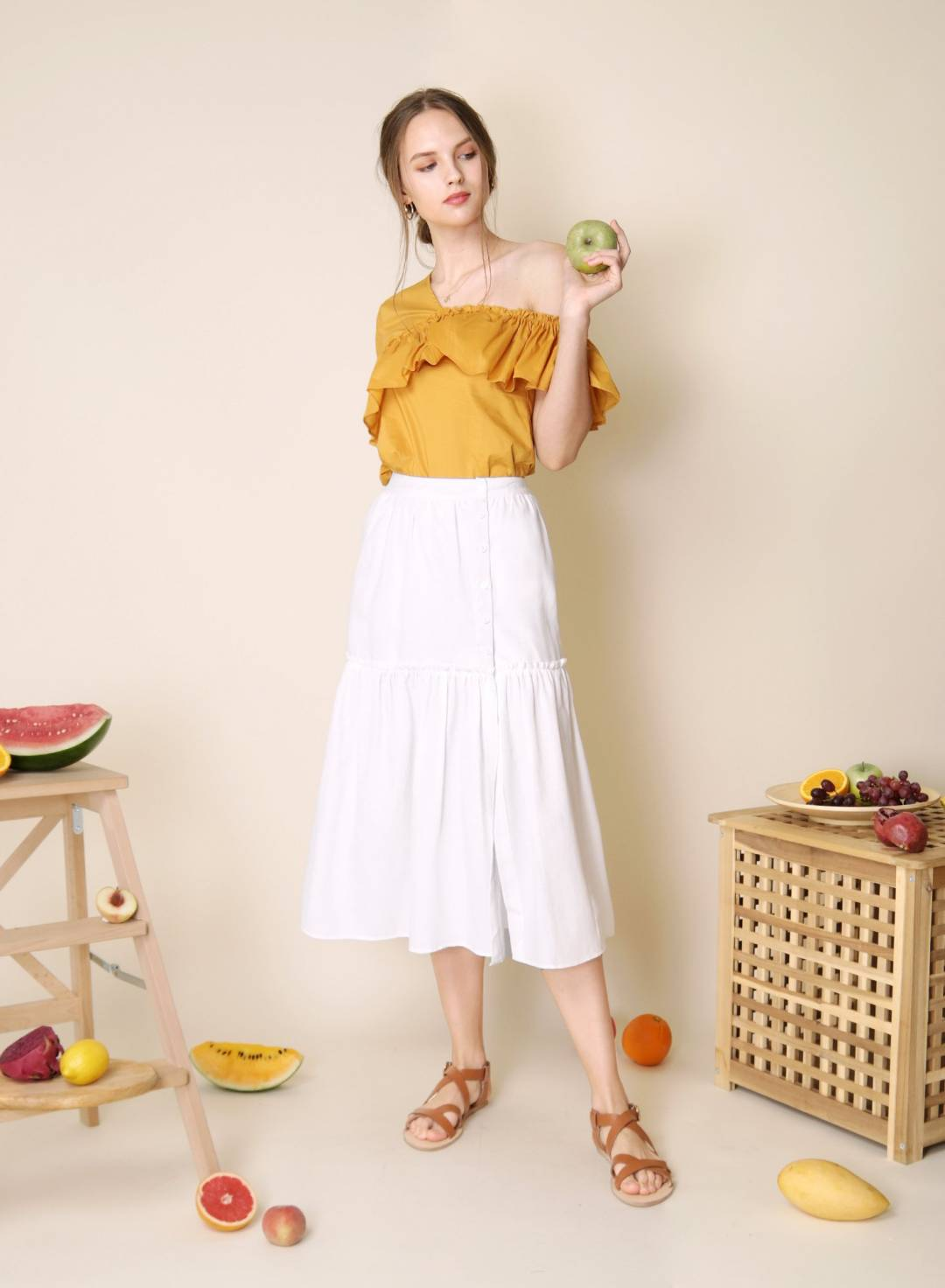Prairie Button Down Skirt (White)