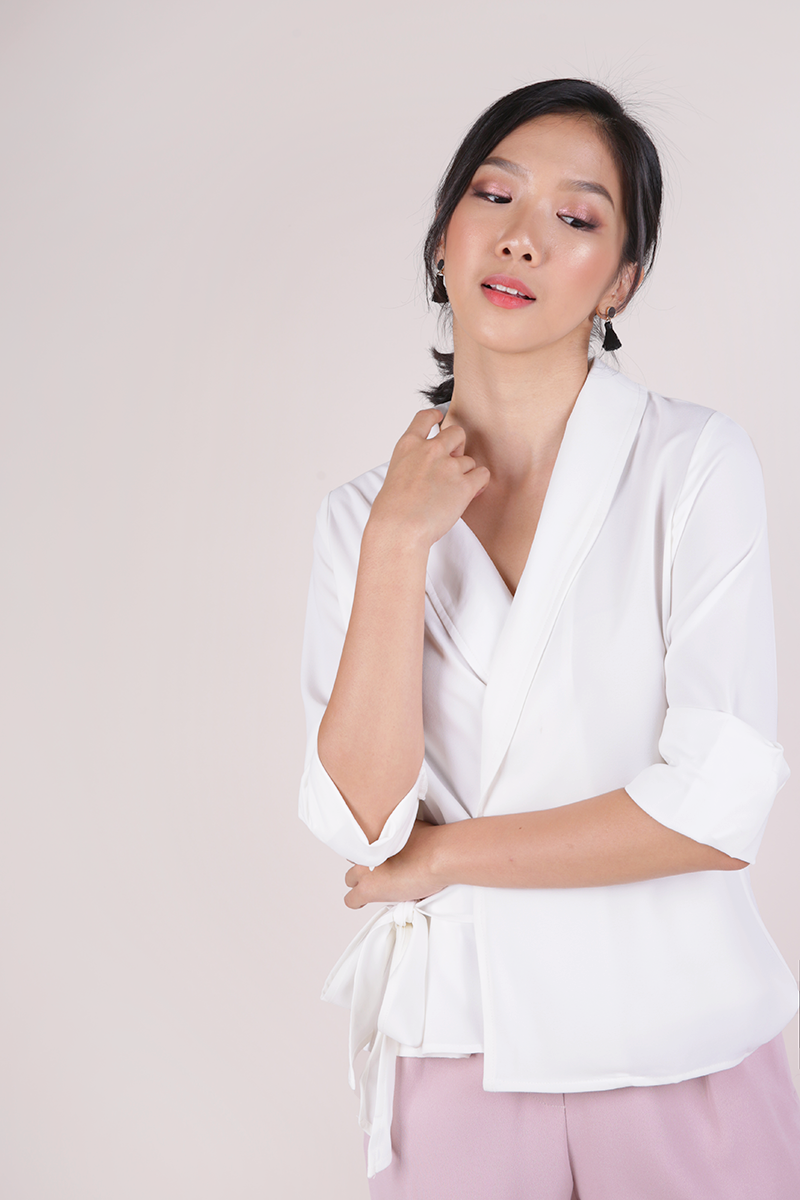 Rue Wrapped Front Blouse (White)