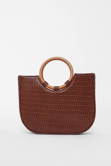 Bethe Woven Textured Ring Handle Handbag