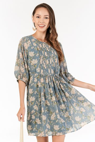 Ferne Sleeved Dress in Dusty Blue