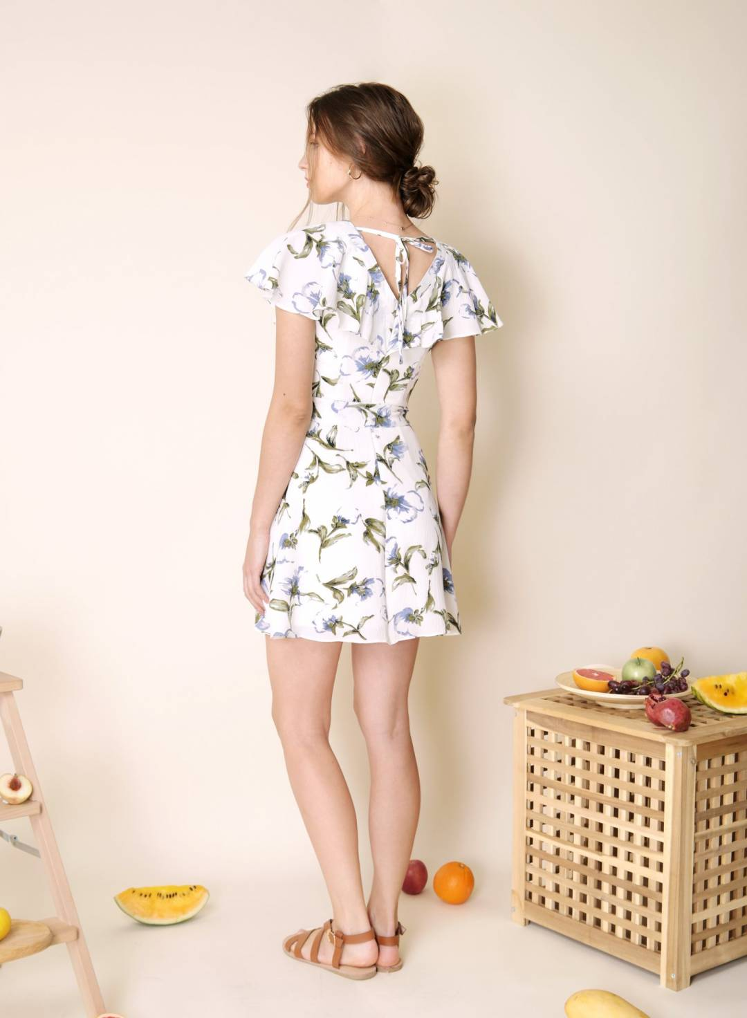 Rustic Button Down Floral Dress (White)