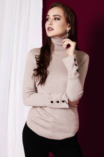 Blake Statement Essential Turtle-Neck Knit LS Top in Nude