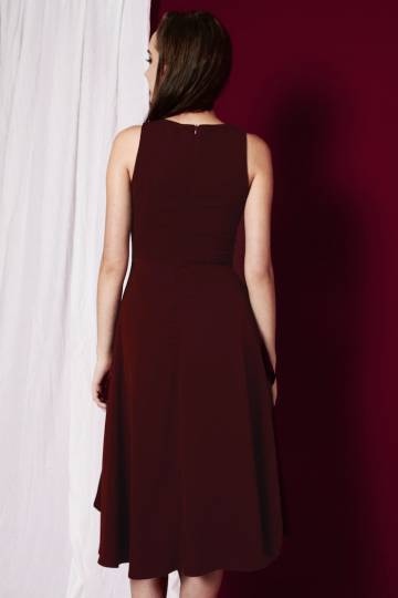 PREMIUM Valerie High-Low Swing Dress in Wine Red [S/M/L]