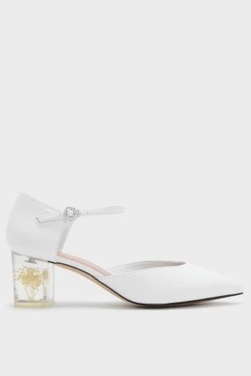 Floral Lucite Heel Mary Janes