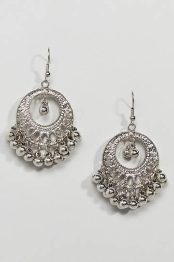 ASOS DESIGN Engraved Burnished Bead Hoop Earrings