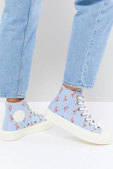 Converse Chuck Taylor All Star 70 Hi Trainers In Blue Embroidered Flamingos