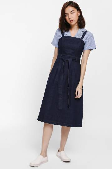 Gyana Sash Belt Denim Pinafore Dress