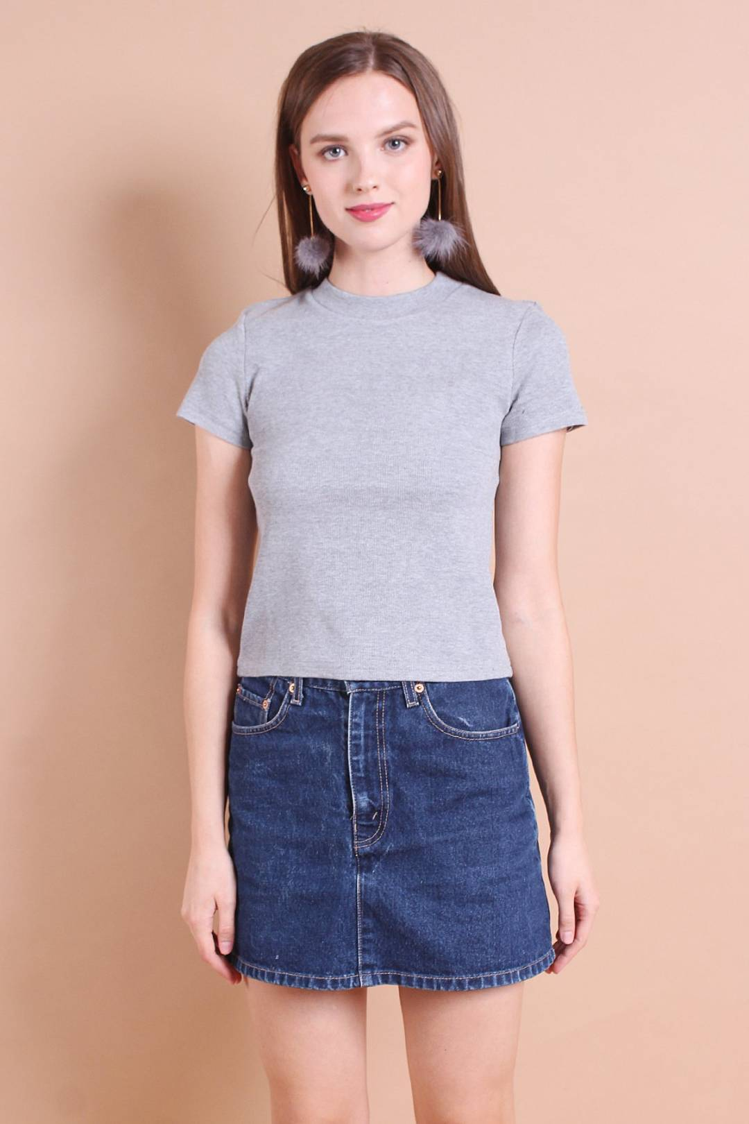 HAILEY EVERYDAY RIBBED TOP IN LIGHT GREY [S/M/L]