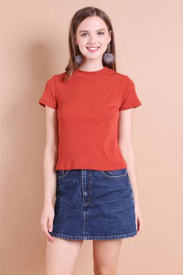 HAILEY EVERYDAY RIBBED TOP IN RUST [S/M/L]