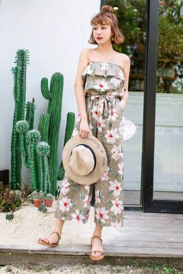 MAYUKI - Bandeau Jumpsuit with Floral Print