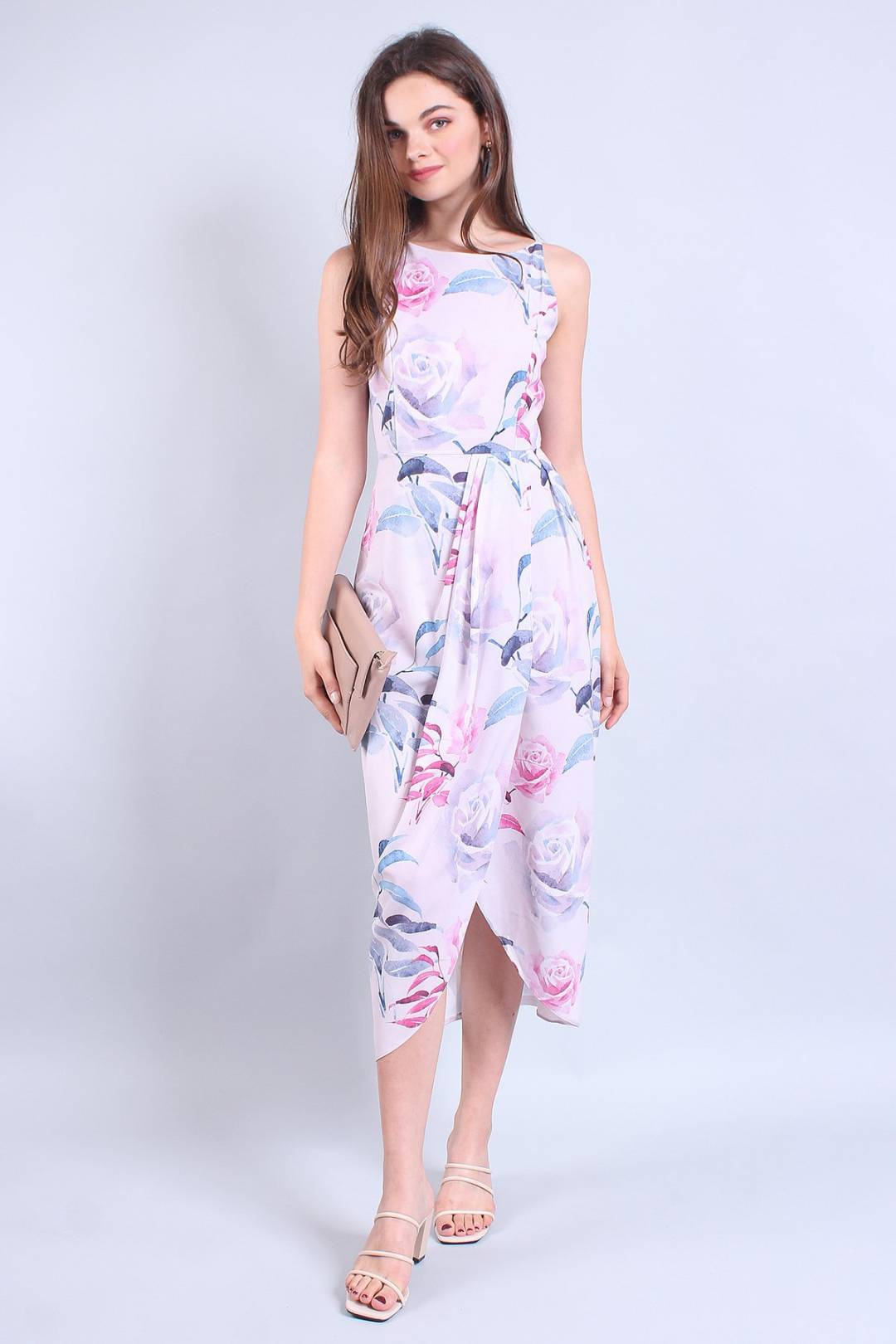 MADEBYNM MERRA HIGH-LOW DRAPE MIDI DRESS IN FLORAL PINK [XS/S/M/L]