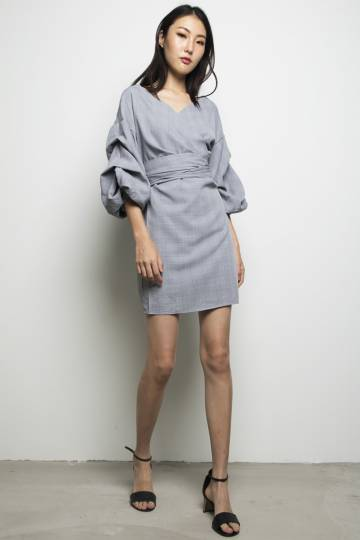 Aimee Wrap Dress Grey Plaid