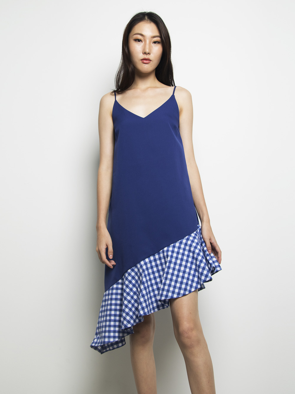 Kelby Checkered Dress Blue