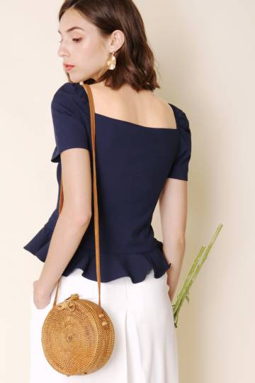 Carnival Button Down Peplum Top (Navy)