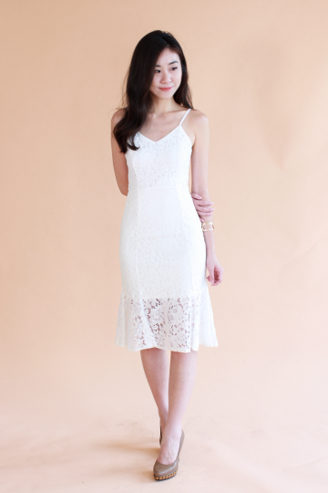 Fanning Lace Trumpet Dress