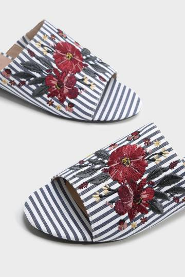Embroidered Flat Mules