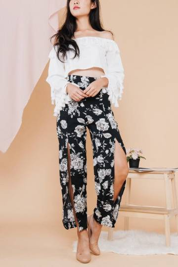Kiko Floral Slit Pants in Black