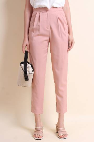 MADEBYNM AGATHA HIGH WAIST CROPPED PANTS IN SALMON PINK [S/M/L]