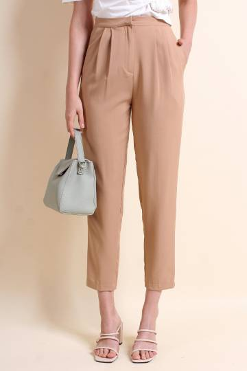 MADEBYNM AGATHA HIGH WAIST CROPPED PANTS IN TAUPE [S/M/L]