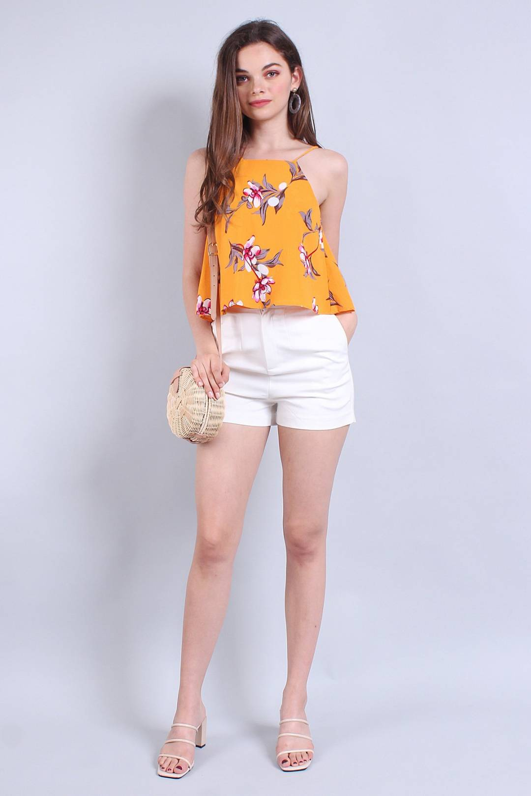 MADEBYNM CAMI KEEPER BUTTONS TOP IN MAGNOLIA FLORAL [XS/S/M]