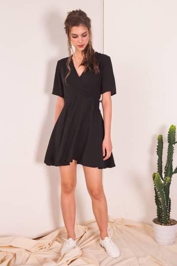 Ostia Wrap Dress in Black