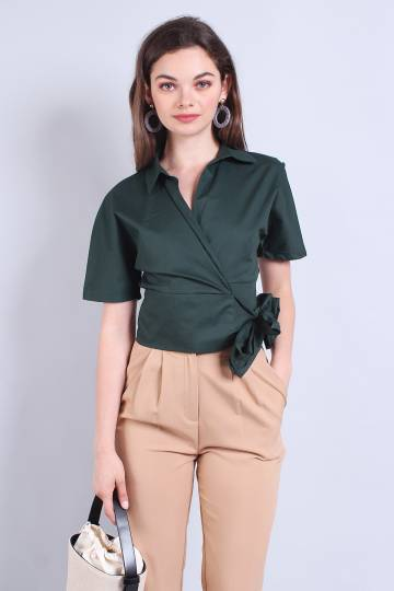 GIANA COLLARED WRAPPED SLEEVED TOP IN FOREST GREEN [XS/S/M/L]