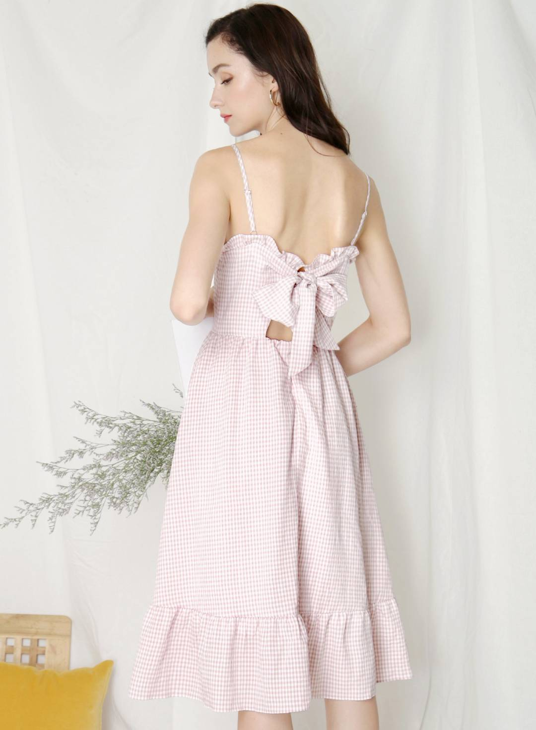 Harmony Ribbon Tie Back Dress (Lilac Gingham)