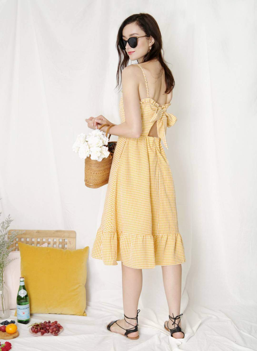 Harmony Ribbon Tie Back Dress (Yellow Gingham)