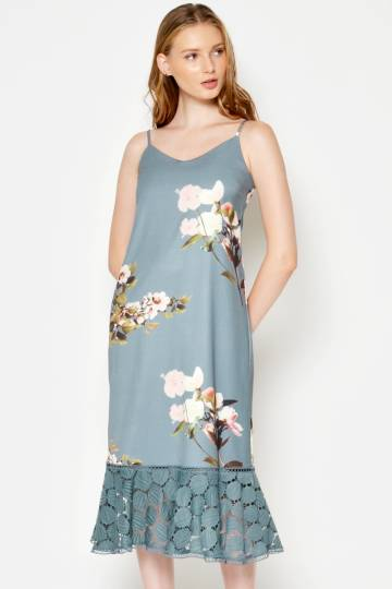 BRYNN FLORAL SLIP DRESS ASH BLUE