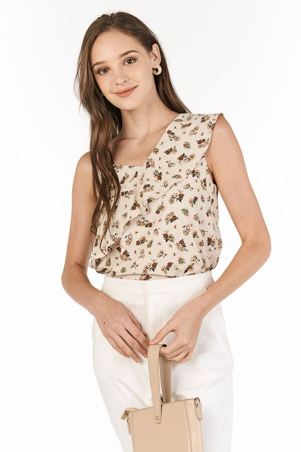Penley Ruffled Top in Cream