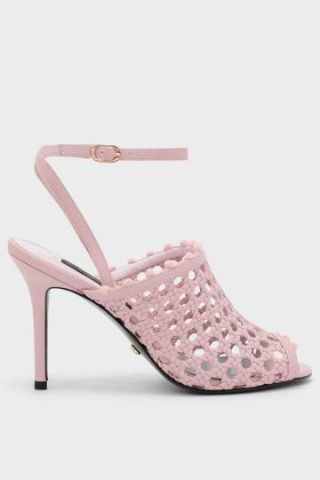 Basket Weave Ankle Strap Mules